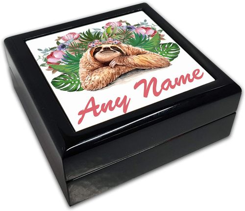 Personalised (Any Name) Floral Sloth Novelty Black Square Jewellery Box